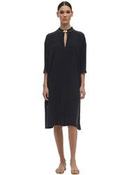 Max Mara Caftan Silk Crepe De Chine Midi Dress Blue