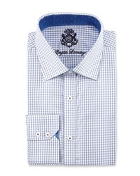 English Laundry Mini Check Long Sleeve Dress Shirt Navy