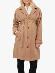 Mamalicious Hilly Tie Belt Maternity Coat Tobacco Brown