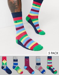 Penguin 5 Pack Socks In Bright Argyle Print Multi