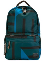 Marni Porter Printed Backpack Blue