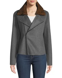 Neiman Marcus Luxury Cashmere Moto Jacket W Rabbit Fur Collar Heather Grey