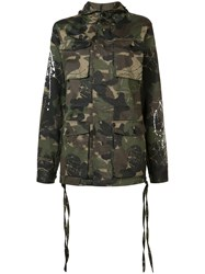 Haculla Camouflage Print Hooded Coat Green