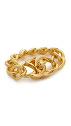 Wgaca Chanel Large Turn Lock Bracelet Previously Owned Gold