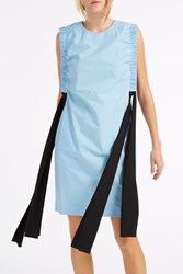 Msgm Poplin Ruched Dress Blue