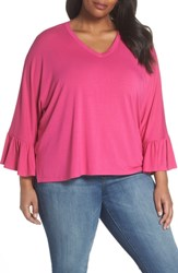 Sejour Plus Size Ruffle Sleeve Knit Top