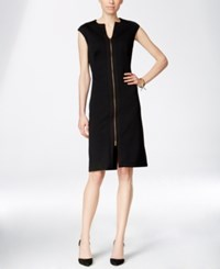 Inc International Concepts Textured Zip Front A Line Dress Only At Macy's Deep Black