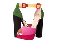 Charlotte Olympia Eugenie Multicolour Suede Printed Calfskin High Heels Pink