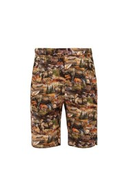 Bless Moose Print Cotton Shorts Grey Multi