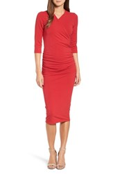 Michael Stars Ruched Surplice Stretch Cotton Body Con Dress Ruby