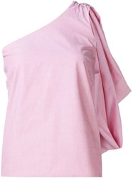 Rosie Assoulin 'Hustle Bustle' One Shoulder Top Pink And Purple