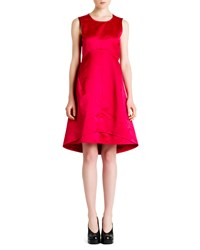 Jil Sander Satin Empire A Line Dress Bright