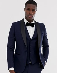 French Connection Occasion Slim Fit Tuxedo Suit Jacket Navy
