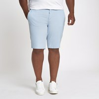 River Island Big And Tall Blue Slim Fit Oxford Shorts