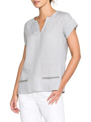 East Linen Embroidered Detail Top Limestone