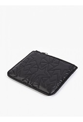 Neil Barrett Black Leather Quilted Coin Wallet