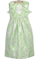 Vineet Bahl Embellished Metallic Brocade Mini Dress Green