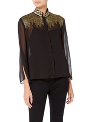 Raishma Lila Embroidered Shirt Black