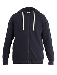 American Vintage Cotton Fleece Jersey Hooded Sweatshirt Navy
