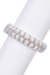 7 8Mm White Freshwater Pearl And Woven Thread Coil Bracelet