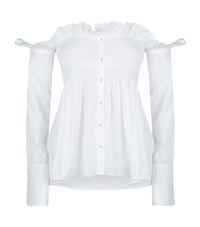 Victoria Beckham Off The Shoulder Smocked Shirt Female White