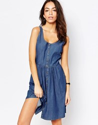 Jdy J.D.Y Chambray Button Front Dress Blue