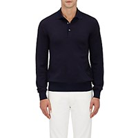 Luciano Barbera Men's Wool Silk Long Sleeve Polo Shirt Navy
