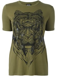 Just Cavalli 'Tiger' Print T Shirt Green
