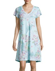 Miss Elaine Tropical Print Nightgown Blue Floral