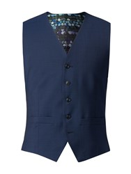 Gibson Bright Blue Diamond Effect Waistcoat Blue