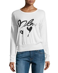 Christopher Fischer Cashmere Love Print Sweater Ground Rice Black