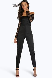 Boohoo Kami Lace Off The Shoulder Jumpsuit Black