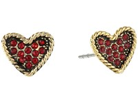 Marc Jacobs Mj Coin Heart Studs Earrings Red