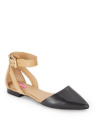 Isaac Mizrahi Two Tone Ankle Strap Flats Black Tan