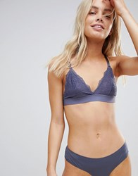 South Beach All Over Lace Bralette With Skinny Strap Detail Gray