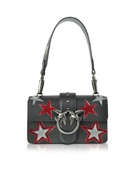 Pinko Mini Love Stars Black Leather Shoulder Bag