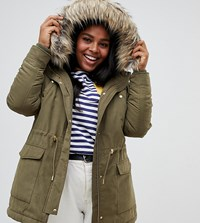 Junarose Faux Fur Trim Parka Green