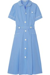 Miu Miu Belted Cotton Poplin Midi Dress Light Blue