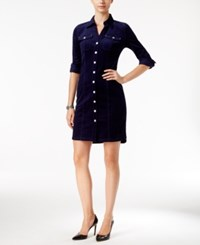 Inc International Concepts Corduroy Shirtdress Only At Macy's Vibrant Navy