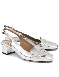 Tabitha Simmons Mirrored Silver Ines Slingback Loafers