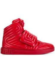 Versace Quilted Medusa Head High Tops Red