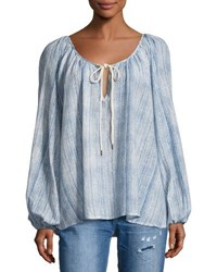One Teaspoon White Wolf Printed Peasant Top Light Blue