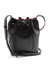 Mansur Gavriel Pink Lined Mini Mini Leather Bucket Bag Black Pink