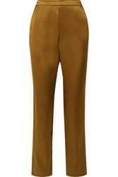 Fleur Du Mal Silk Satin Wide Leg Pajama Pants Gold