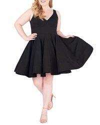 Mac Duggal V Neck Sleeveless Fit And Flare Cocktail Dress W Pockets Plus Size Black