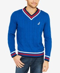 Nautica Men's Varsity Cable Knit Sweater Monaco Blue