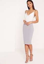 Missguided Contrast Cowl Neck Midi Dress Grey White