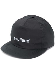Soulland Logo Embroidered Cap Black