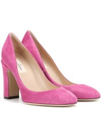 Valentino Tan Go Suede Pumps Purple