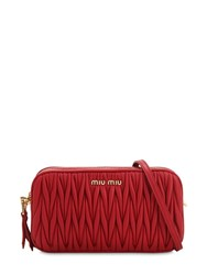 Miu Miu Quilted Leather Camera Bag Red